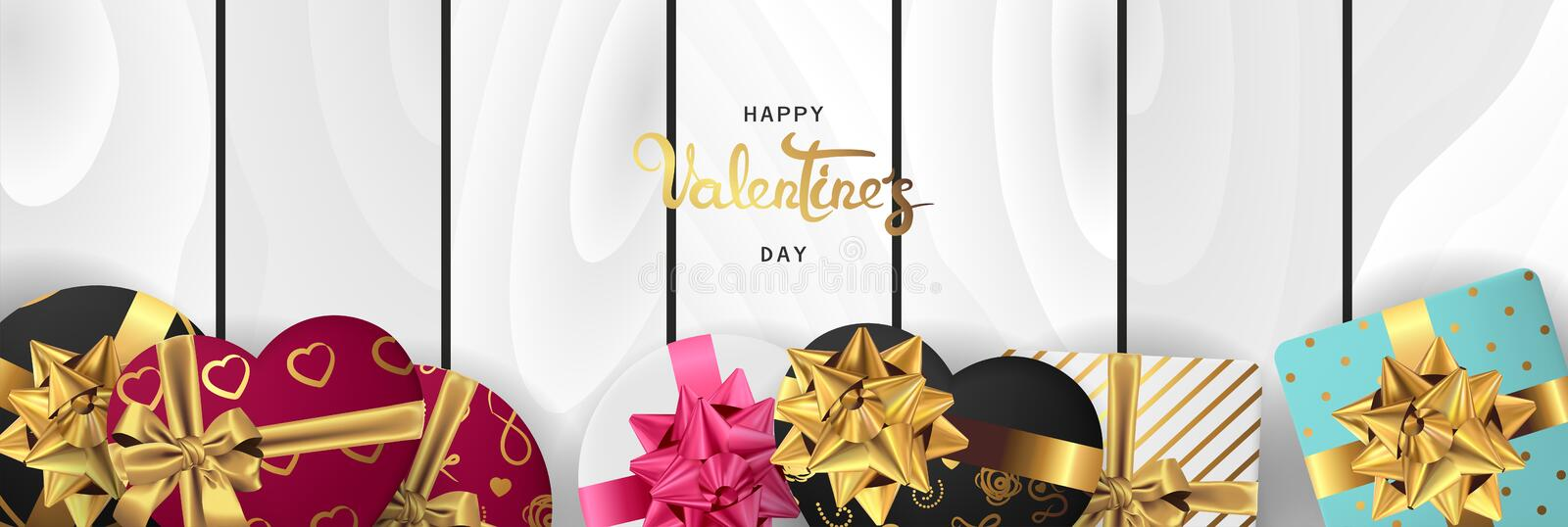 Happy valentines day horizontal realistic banner flat lay top view vector illustration