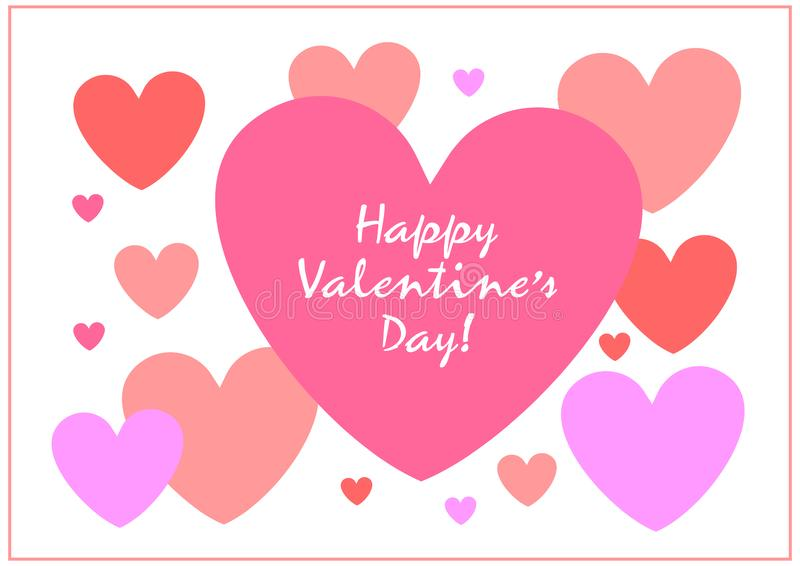 Happy valentines day. Be My Valentine. Valentine card I Love YOU, Be My Valentine. Pink floral backdrop with hearts. Vector illustration happy valentines day royalty free illustration