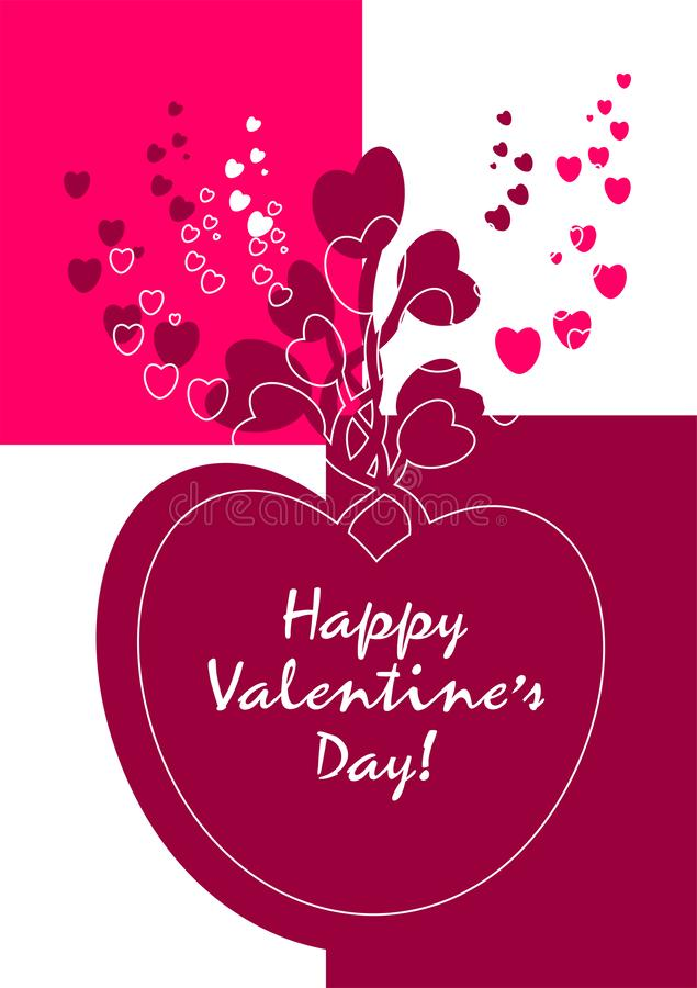 Happy valentines day. Be My Valentine. Valentine card I Love YOU, Be My Valentine. Pink floral backdrop with heart. Vector illustration happy valentines day stock illustration