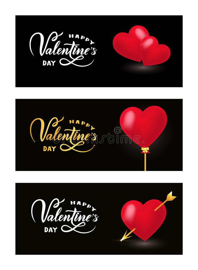 Happy Valentines day on black background, realistic red Hearts. Set of three template flyer. Vector stock illustration