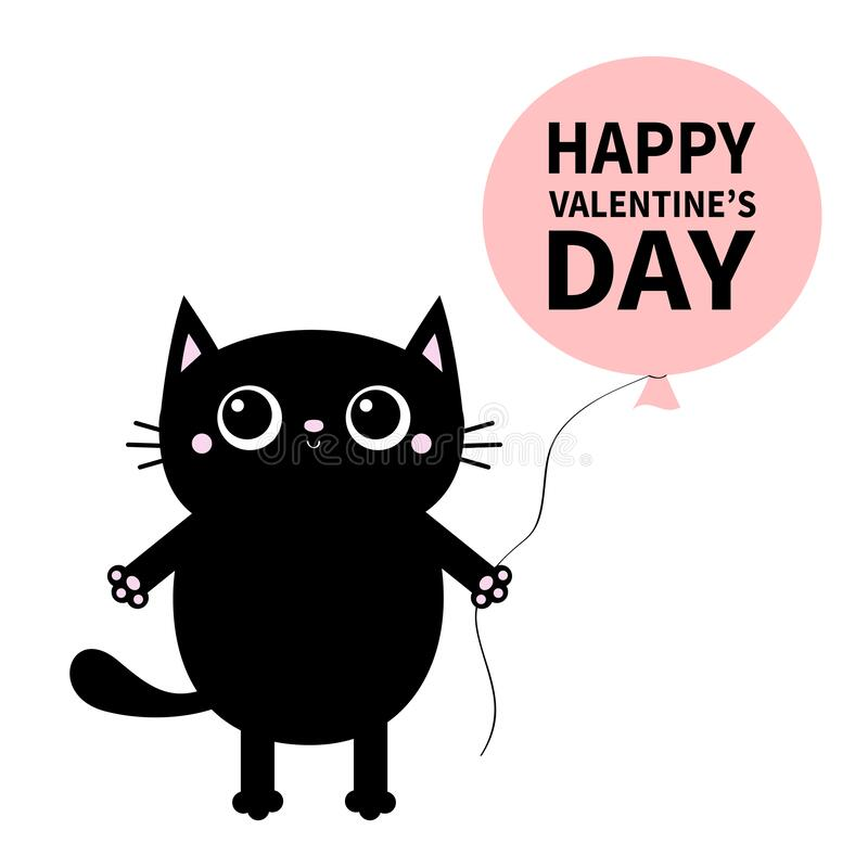 Free Happy Valentines Day. Black Cat Holding Balloon. Pink Paw Print. Kitty Reaching For A Hug. Funny Kawaii Animal. Baby Card. Cute Royalty Free Stock Photos - 172442738