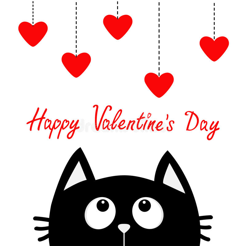 Happy Valentines Day. Black cat looking up to hanging red hearts. Dash line. Heart set Cute cartoon character. Kawaii animal. Love. Greeting card. Flat design royalty free illustration