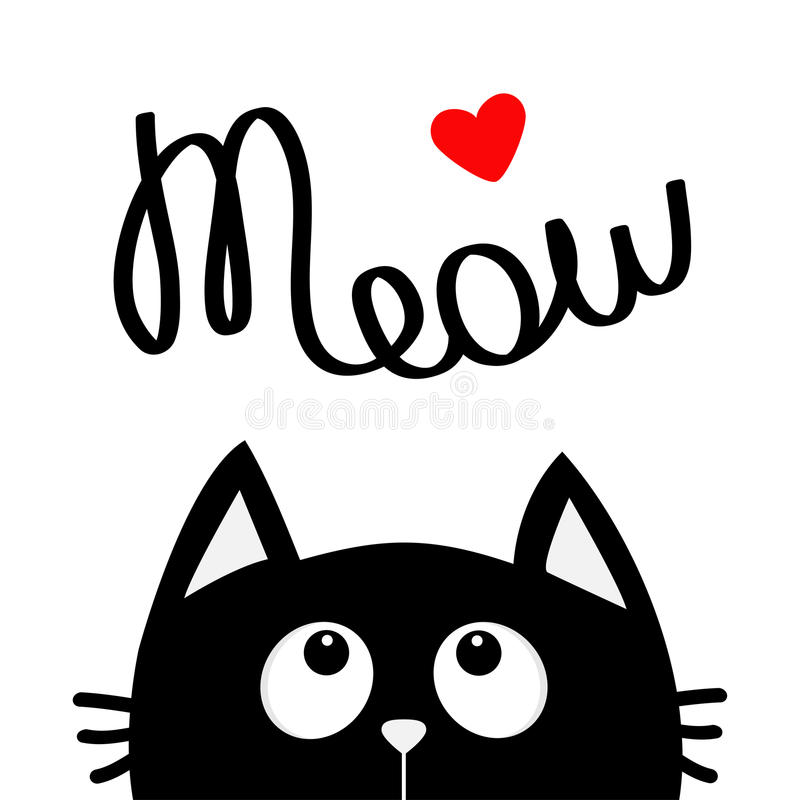 Happy Valentines Day. Black cat looking up to red heart. Meow lettering text. Cute cartoon character. Kawaii animal. Love Greeting vector illustration