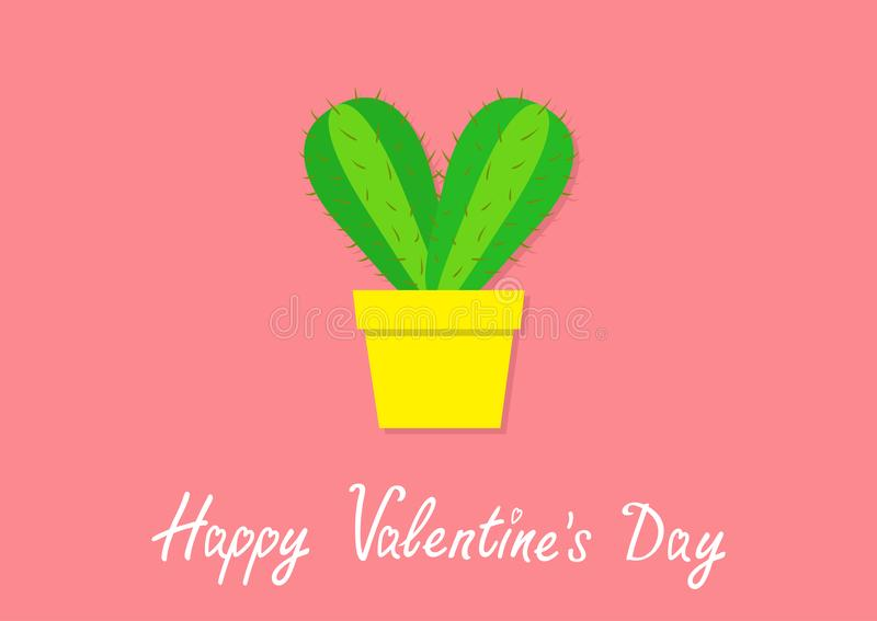 Happy Valentines Day. Cactus heart icon in flower pot. Desert prikly thorny spiny plant. Minimal flat design. Bright green housepl stock illustration