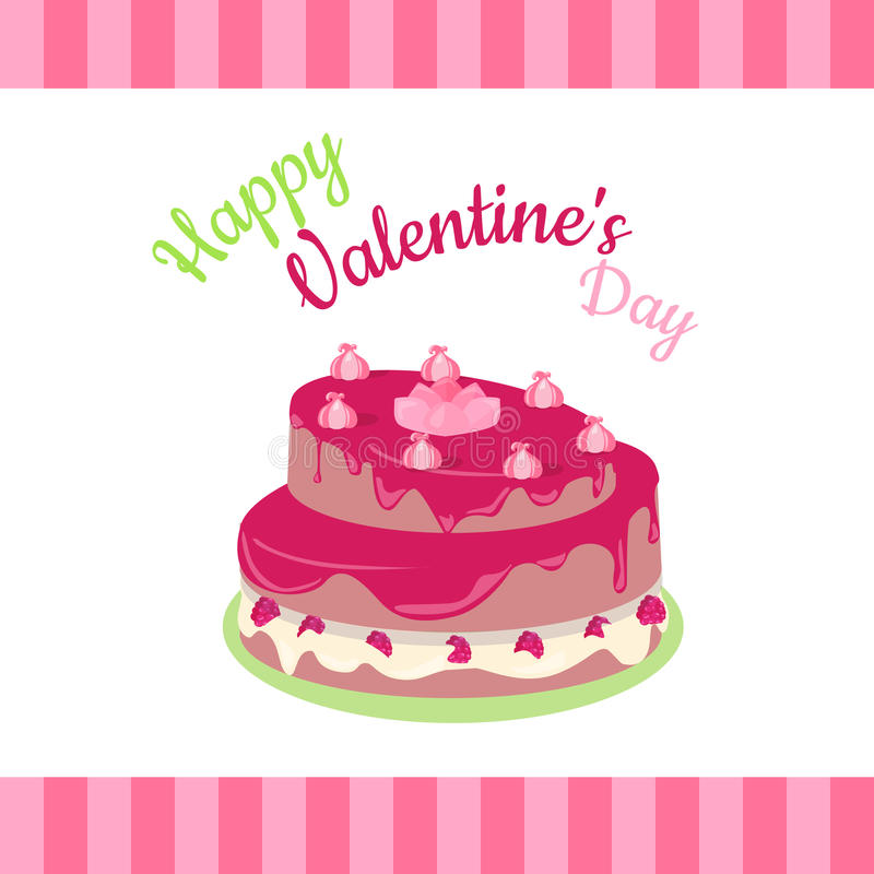 Happy Valentines Day Cake with Strawberries Isolated. Cake with chocolate. Birthday or wedding cake , dessert cookies, strawberry and kiss, food sweet pie with stock illustration
