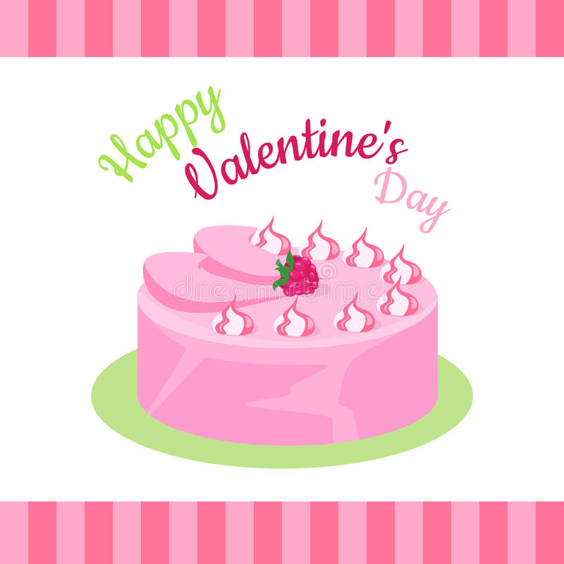 Happy Valentines Day Cake with Strawberries Isolated. Cake with chocolate. Birthday or wedding cake , dessert cookies, strawberry and kiss, food sweet pie with vector illustration