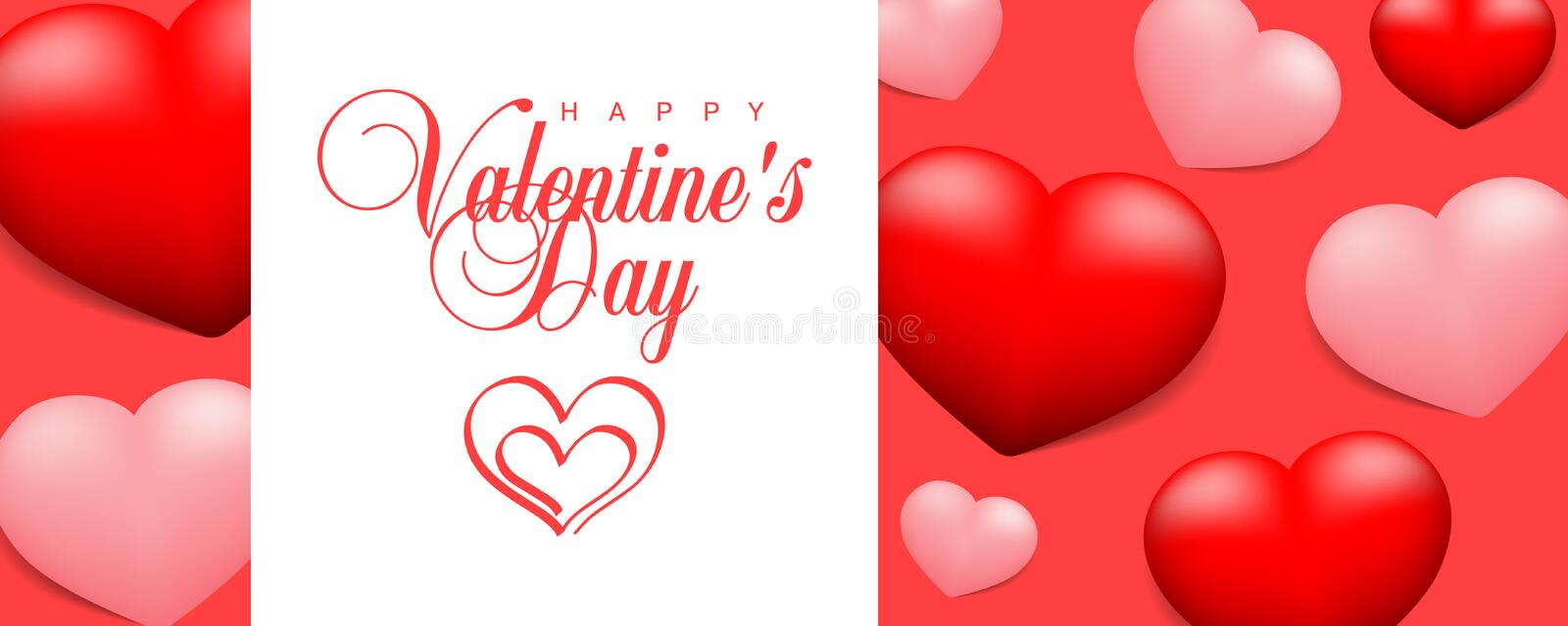 Happy Valentines Day calligraphic lettering and pair of hearts vector website header, illustration, banner, flyer, poster, voucher stock illustration