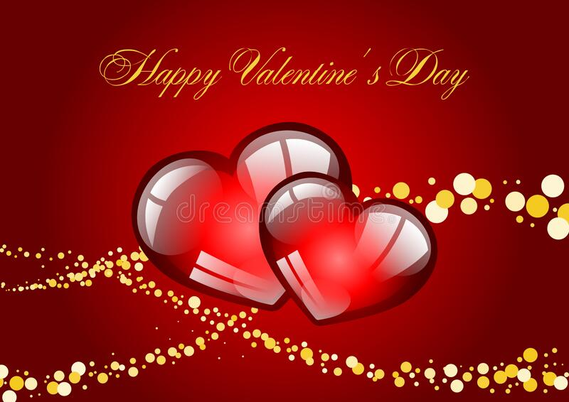Happy Valentines Day calligraphic lettering on red background with two hearts vector template. stock illustration