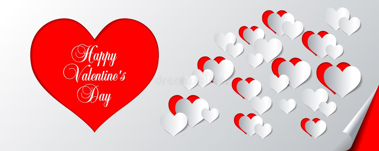 Happy Valentines Day calligraphic text vector illustration banner, flyer, poster, voucher, website header template with paper hear vector illustration