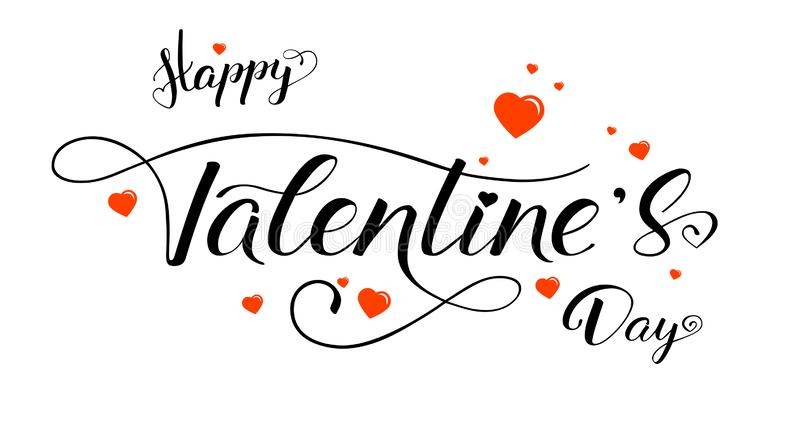 Happy Valentines day, calligraphy in vintage style. Red heart and hand drawn brush pen text lettering on white stock illustration