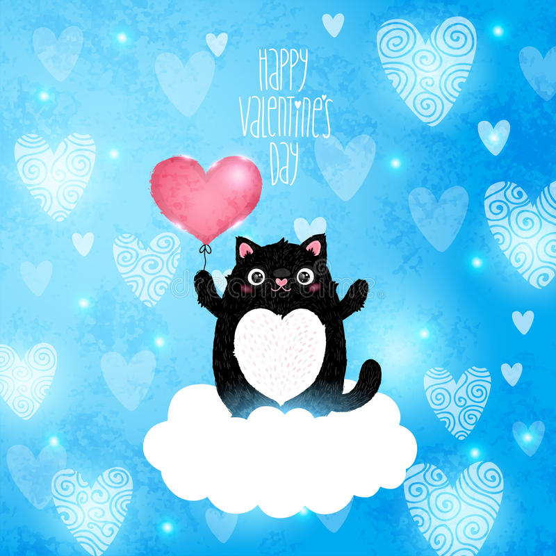 Happy Valentines Day card with cat vector illustration