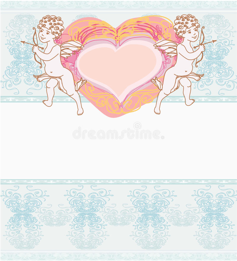 Download Happy Valentines Day Card With Cupid Stock Vector - Image: 22453301