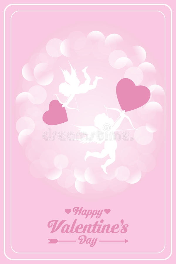 Happy valentines day card with cupids. Vector illustration in pink royalty free illustration