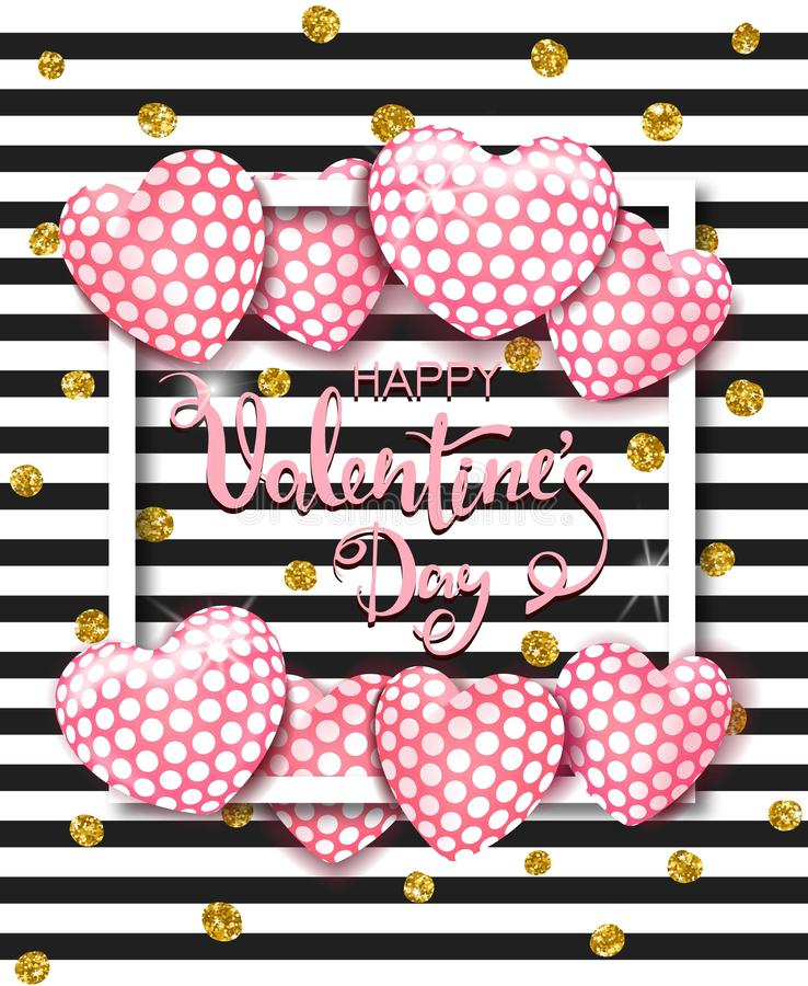 Happy Valentines day card with cute pink heart balloons. Template for background, poster, advertising, sale, postcard stock photography