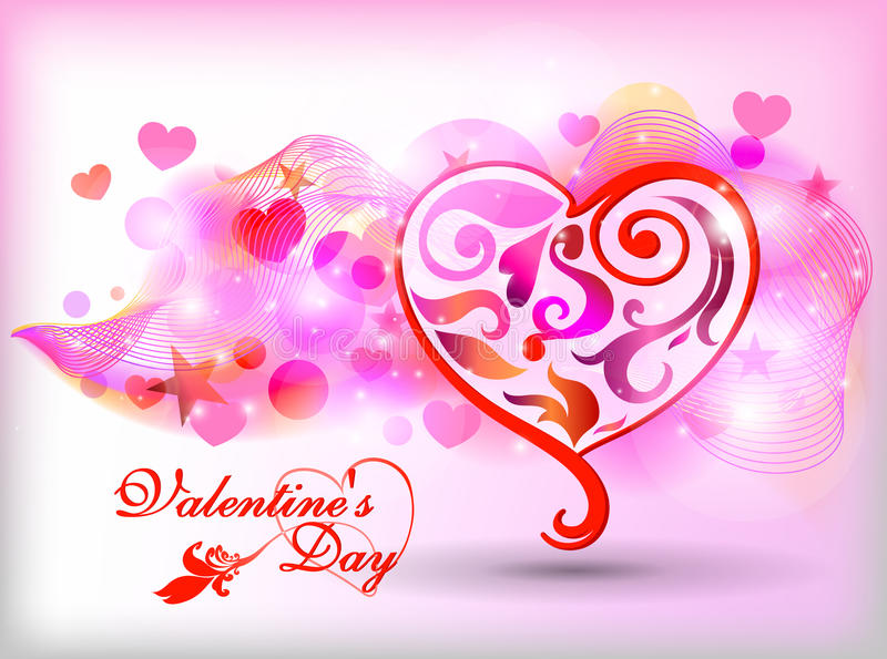 Happy Valentines Day Card Design. 14 February. Happy Valentines Day Card Design. February 14. Vector blurred background, heart royalty free illustration