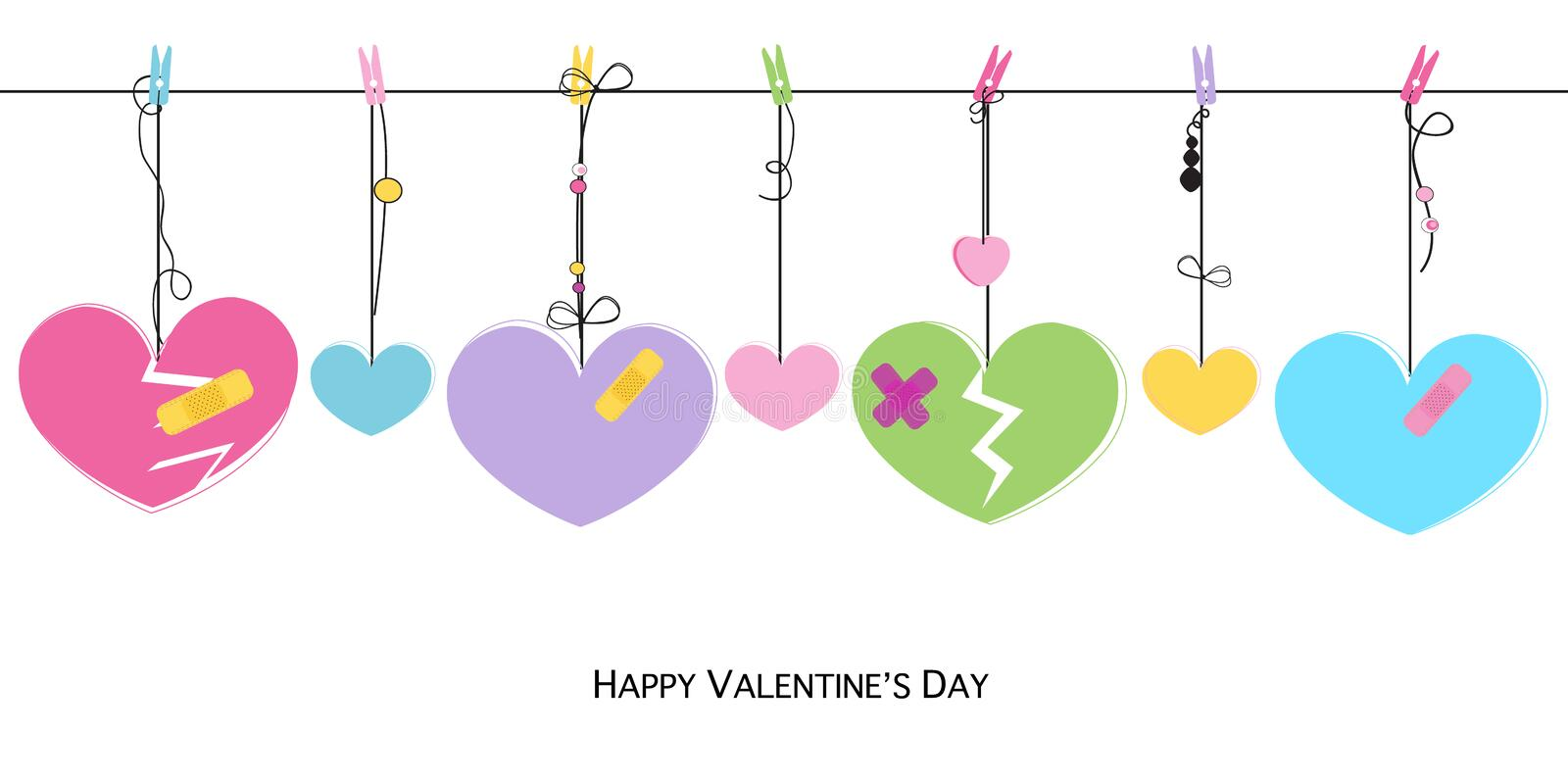 Happy Valentines Day card with hanging broken hearts vector greeting card royalty free illustration