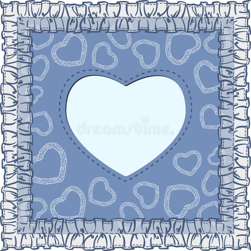 Happy valentines day card with heart on blue background stock photo