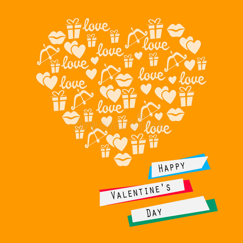 Happy Valentines Day Card Heart With Symbols Of Love Stock Vector