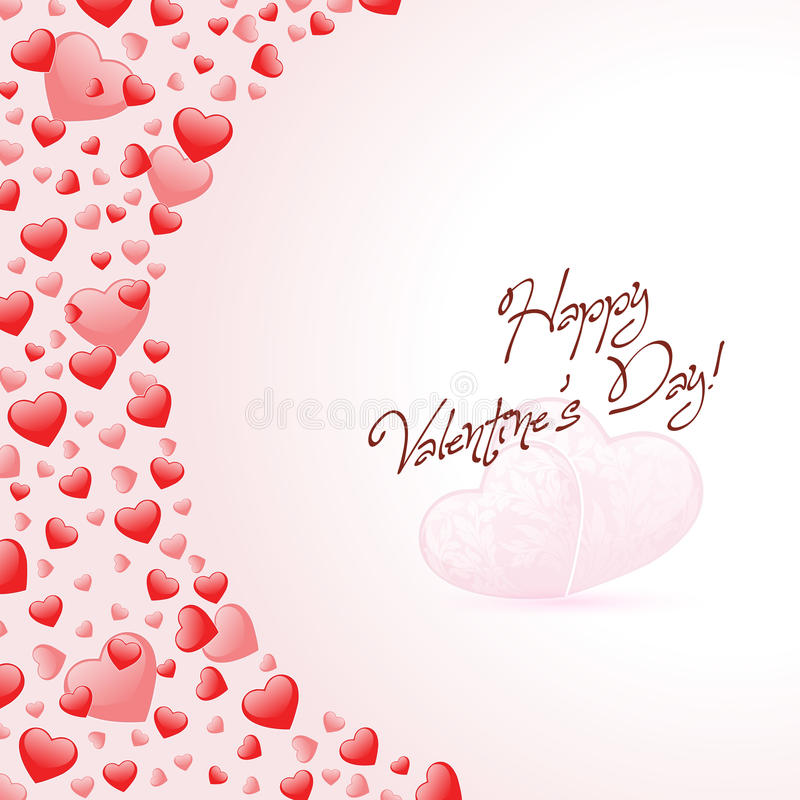 Happy Valentines Day Card With Hearts Stock Images
