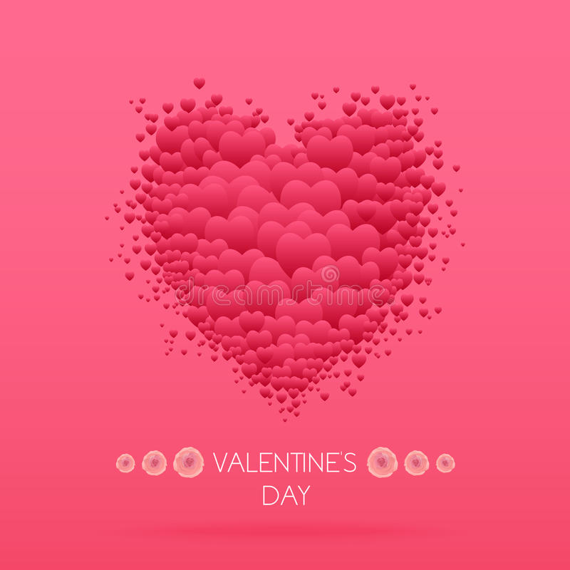 Happy valentines day card with hearts. Valentine Love vector. stock illustration