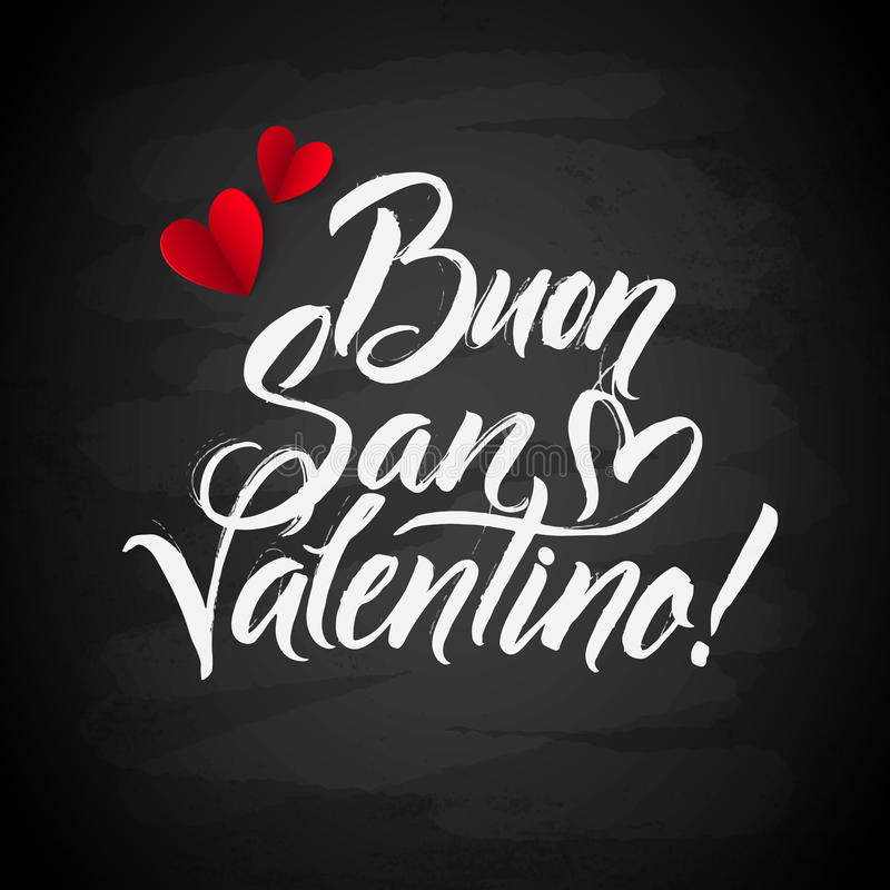 Happy Valentines Day Card. Italian Calligraphic Poster with ChalkBoard and Paper Hearts. Vector Lettering Illustration royalty free illustration