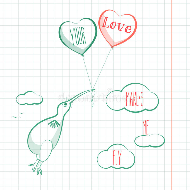 Happy valentines day card with kivi bird, baloons and hearts. Valentine Love vector. royalty free illustration
