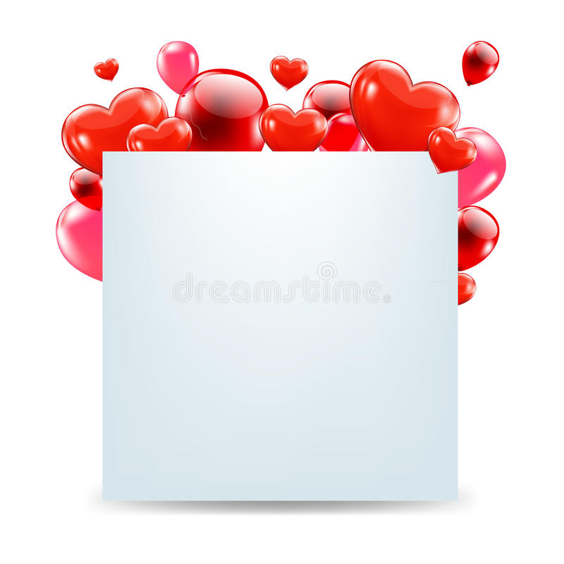 Happy Valentines Day Card With Red Hearts. With Gradient Mesh, Isolated On White Background, Vector Illustration royalty free illustration