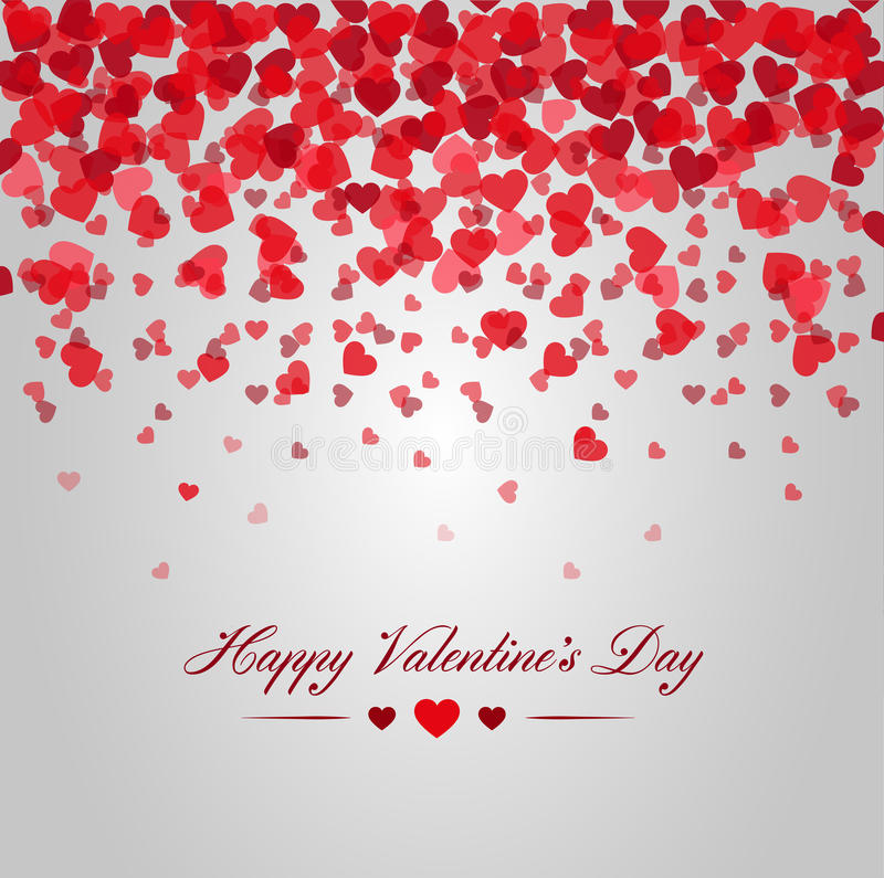 Happy valentines day. Card of red hearts falling royalty free illustration