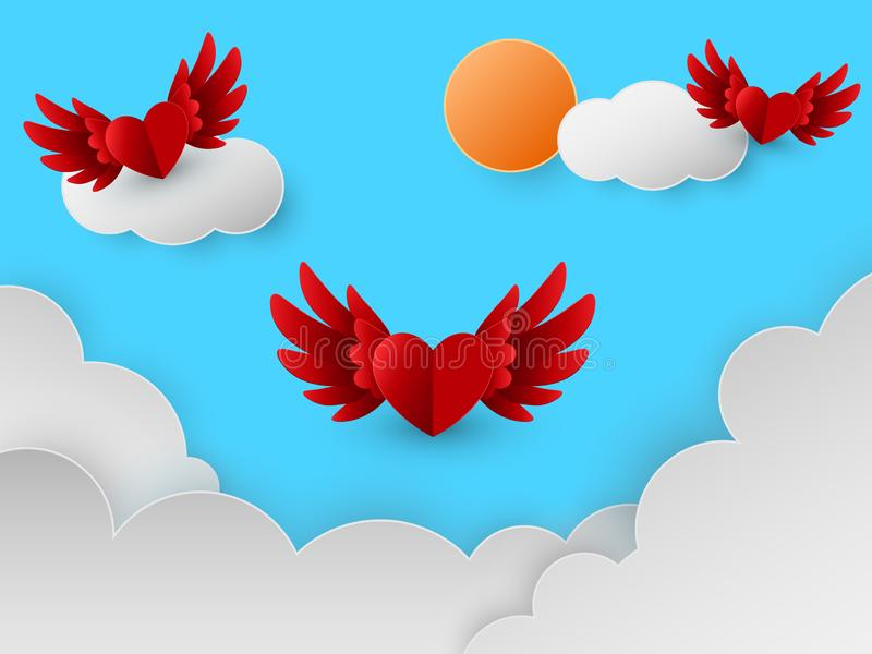 Happy Valentines day card with red hearts flying in sky over clouds, paper cut style, Vector illustration royalty free illustration