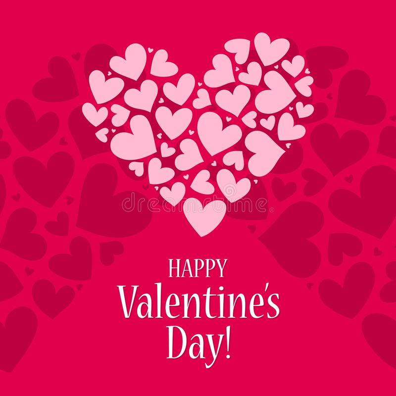 Happy Valentines day card with red and pink heart vector background pattern poster vector illustration