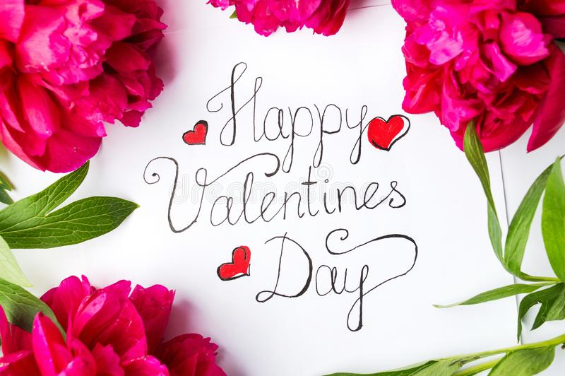 Happy Valentines day card with red roses on white royalty free stock photo