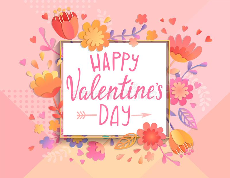 Happy Valentines day card template. vector illustration