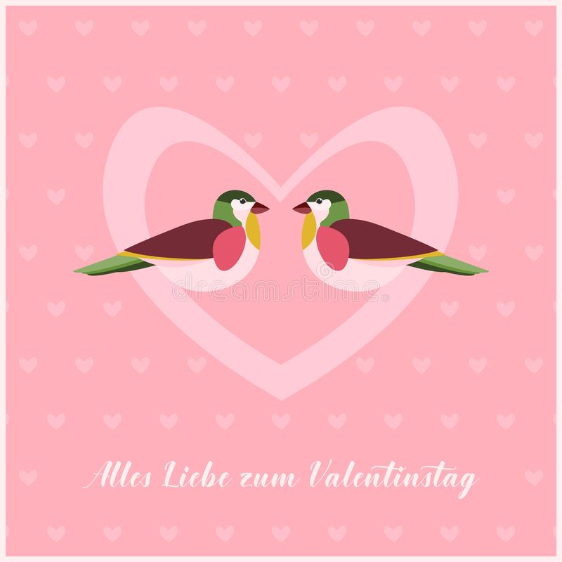 Happy Valentines Day Card with two Birds in Heart. Small Hearts Pattern on Background. Text in German: Alles Liebe zum Valentinstag as Happy Valentines Day vector illustration