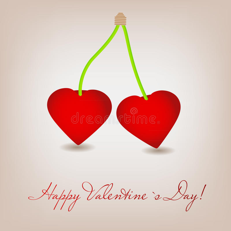 Free Happy Valentines Day Card With Cherry Heart. Royalty Free Stock Images - 28015509