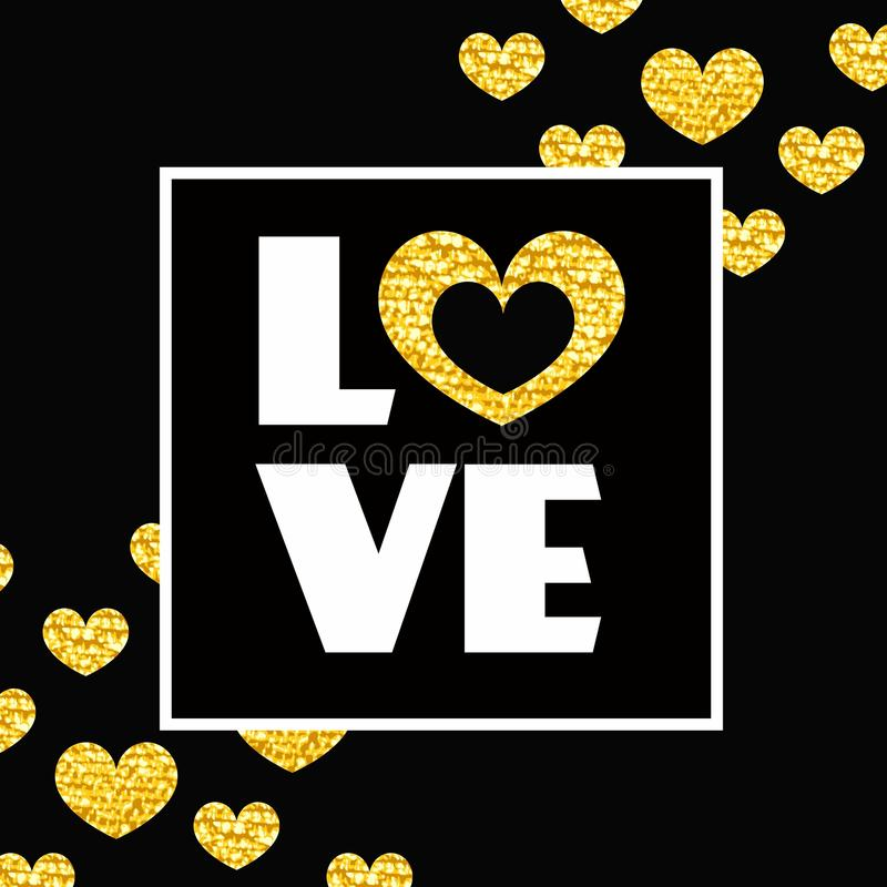 Happy valentines day card. Word LOVE and heart in frame on black background. royalty free illustration