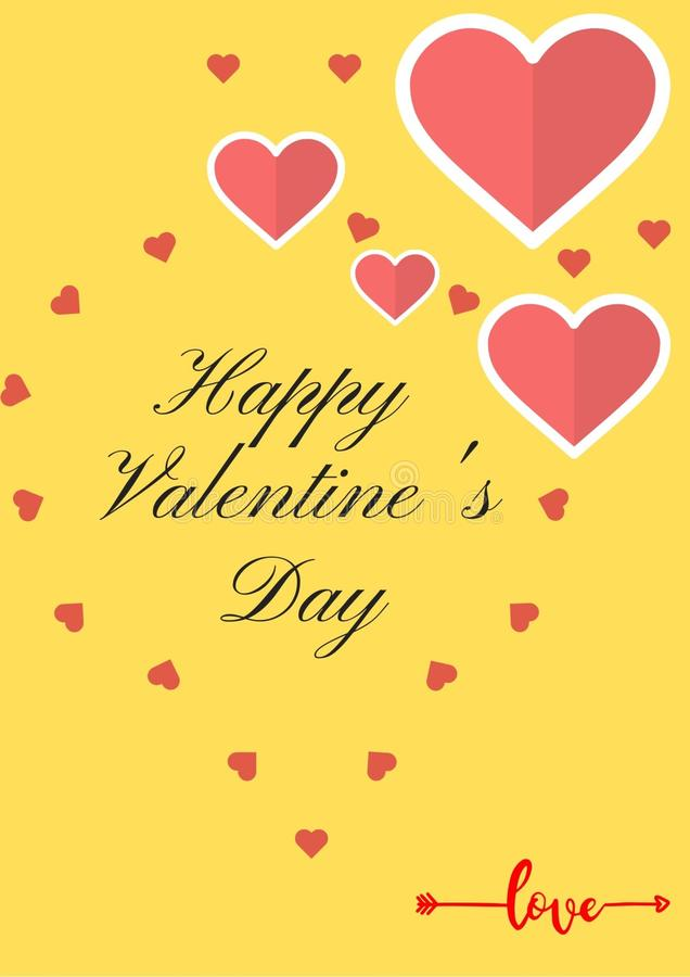 Happy valentines day card with yellow background and red hearts. Good for flyers, banners, backgrounds stock photos