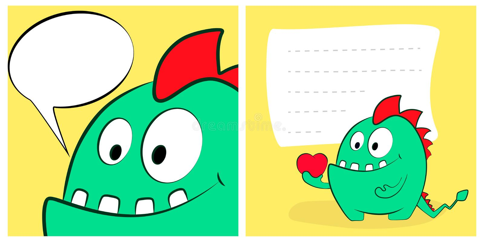 Happy valentines day cards with cute cartoon monster dragon, heart, speech bubble. vector illustration