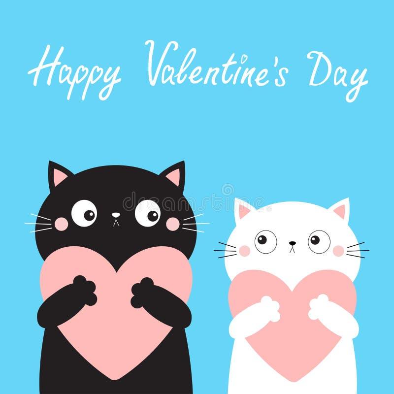 Free Happy Valentines Day. Cat Love Couple Boy Girl Kitten Head Face Holding Big Pink Heart. Cute Cartoon Kawaii Funny Kitty Animal Royalty Free Stock Photography - 170576127