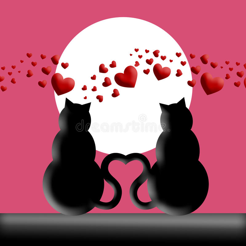 Happy Valentines Day Cats in Love Silhouette vector illustration