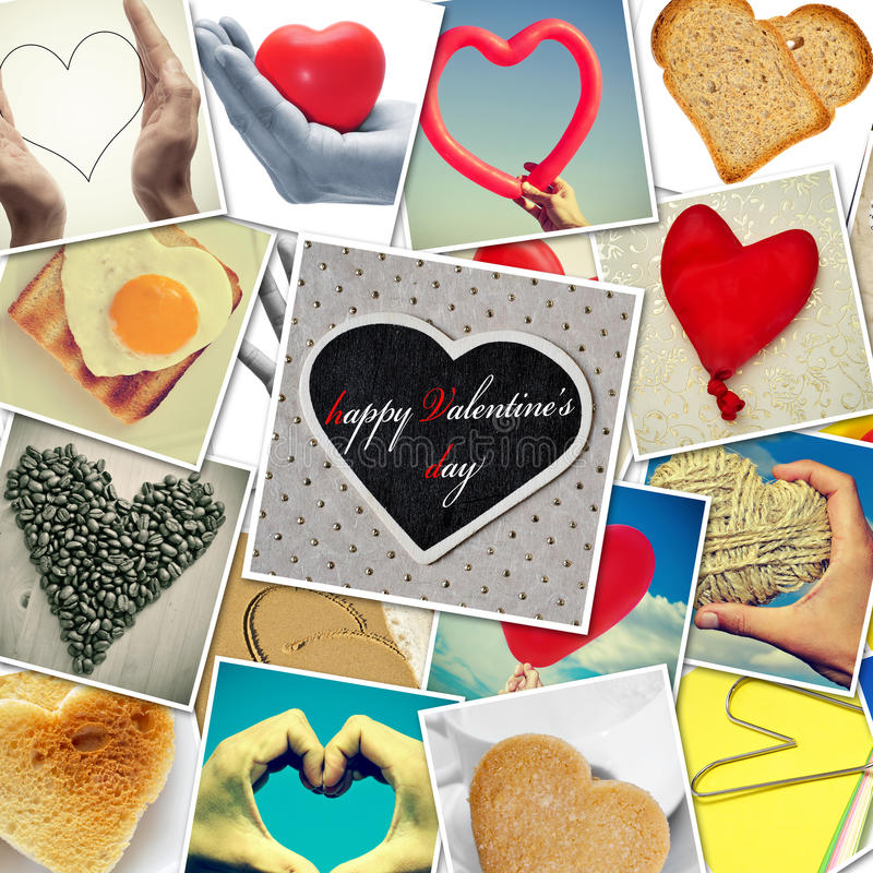 Happy valentines day. A collage of different snapshots of hearts and heart-shaped things shot by myself, one of them with the sentence happy valentines day stock images