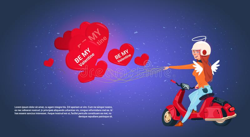 Happy Valentines Day Concept Woman Cupid Riding Retro Motor Bike Holding Heart Shaped Air Balloons. Flat Vector Illustration stock illustration