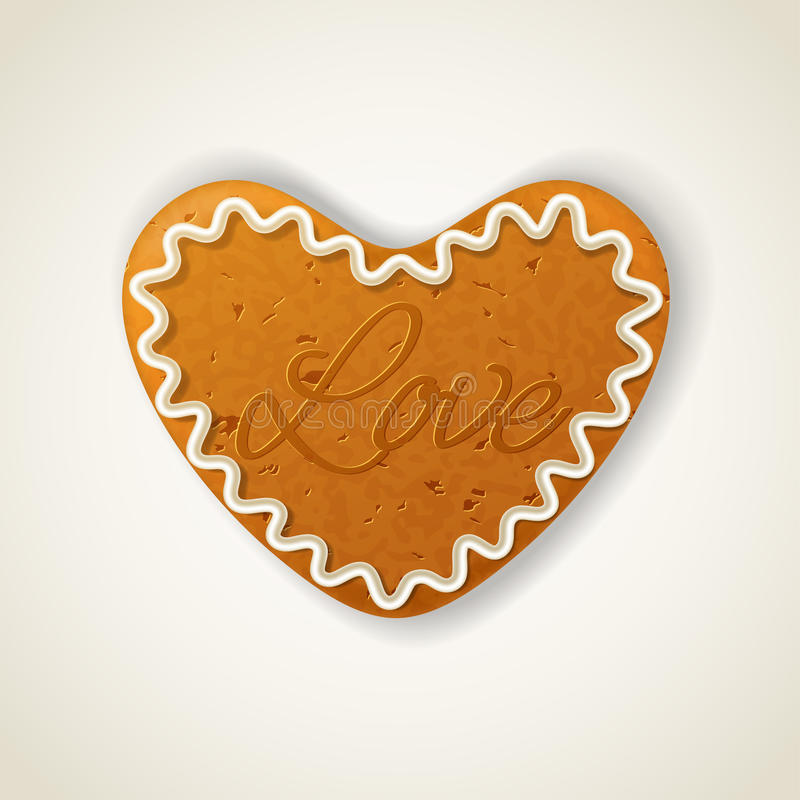 Happy valentines day cookie. In the shape of a heart with inscription love stock illustration