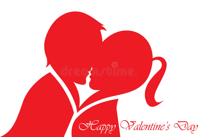 Happy Valentines Day. Valentines couple kissing and they look like heartin vector illustration