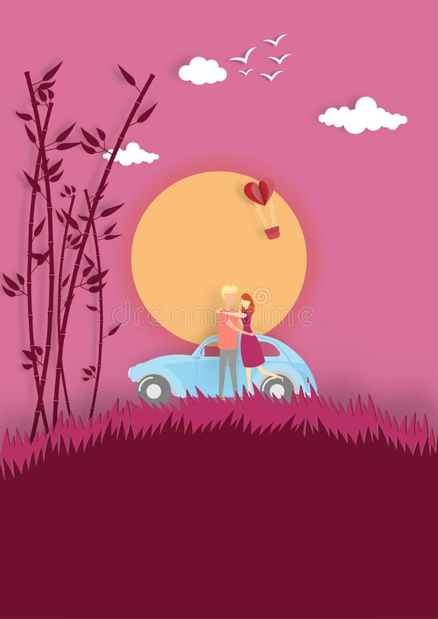 Happy valentines day with couple in love hugging near car in sunset. Vector illustration royalty free illustration