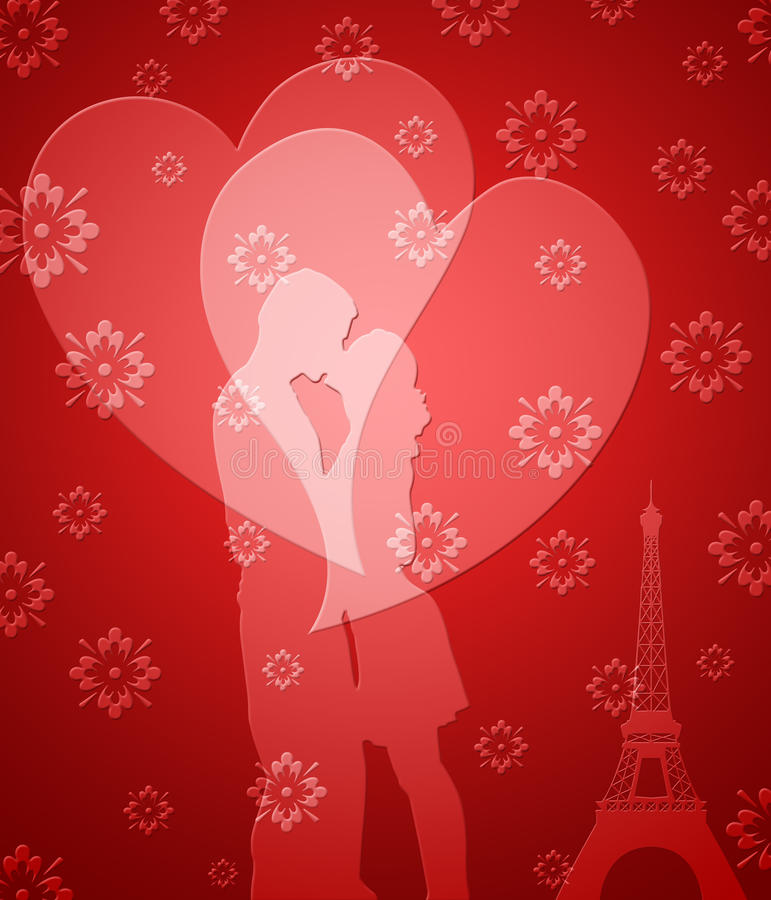 Download Happy Valentines Day Couple In Paris Stock Illustration - Image: 21951644