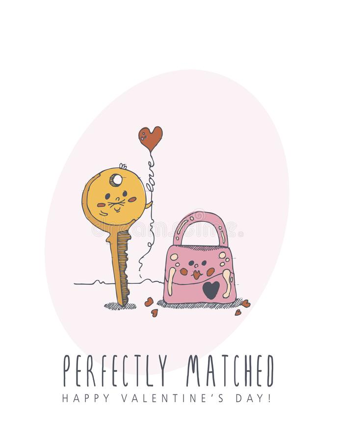 Happy Valentines day creative vector greeting card with cute character in line art style. Love poster with lock and key royalty free illustration