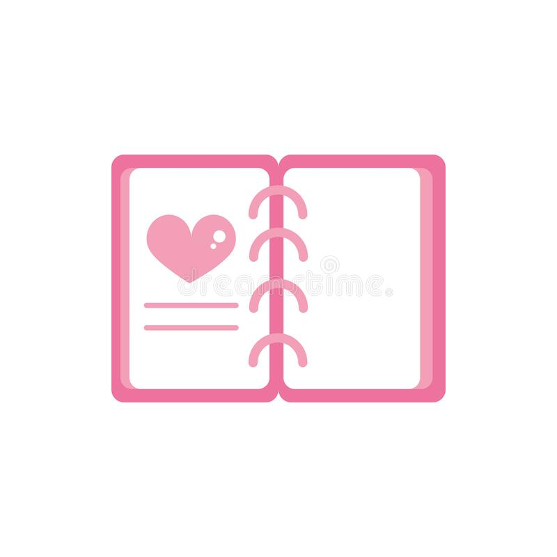 Happy valentines day cute notepad with spiral and heart love pink design royalty free illustration