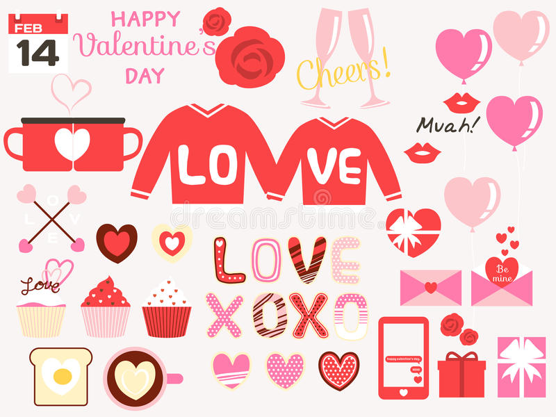 Happy valentines day design elements royalty free illustration