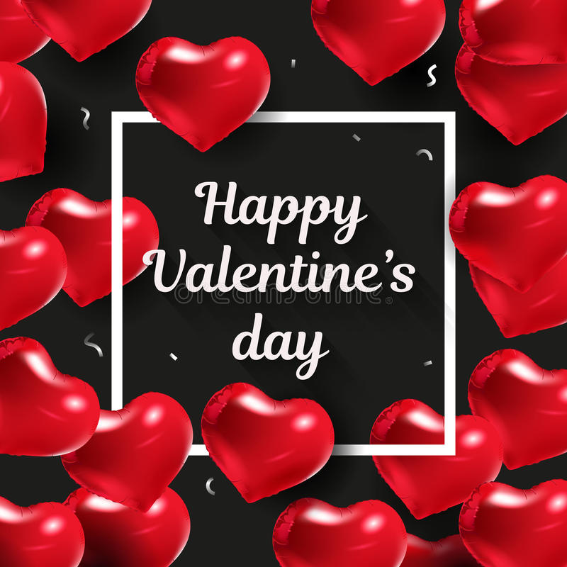 Happy Valentines day design. Vector illustration. Black background with red hearts vector illustration
