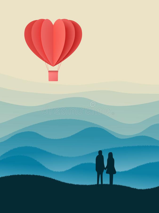 Happy valentines day double exposure vector illustration with paper cut red heart shape origami made hot air balloons flying in sk. Y background . Living coral vector illustration